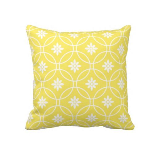 Chaise Lounge Sofa Lemon Yellow Geometric Floral Pattern Throw Pillow