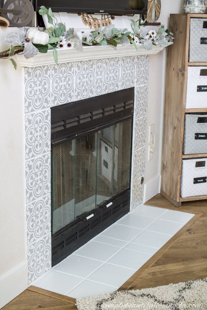 DIY Stenciled Tile Fireplace Tile around fireplace