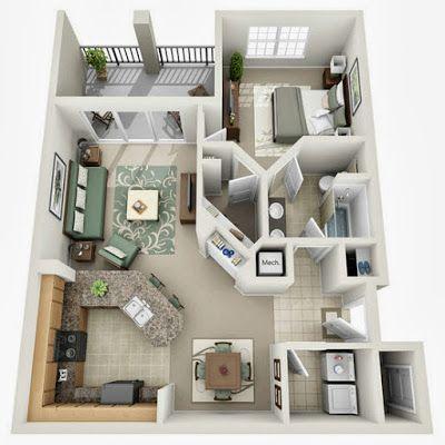Departamentos peque os planos y dise o en 3d planos for Distribucion apartamentos pequenos