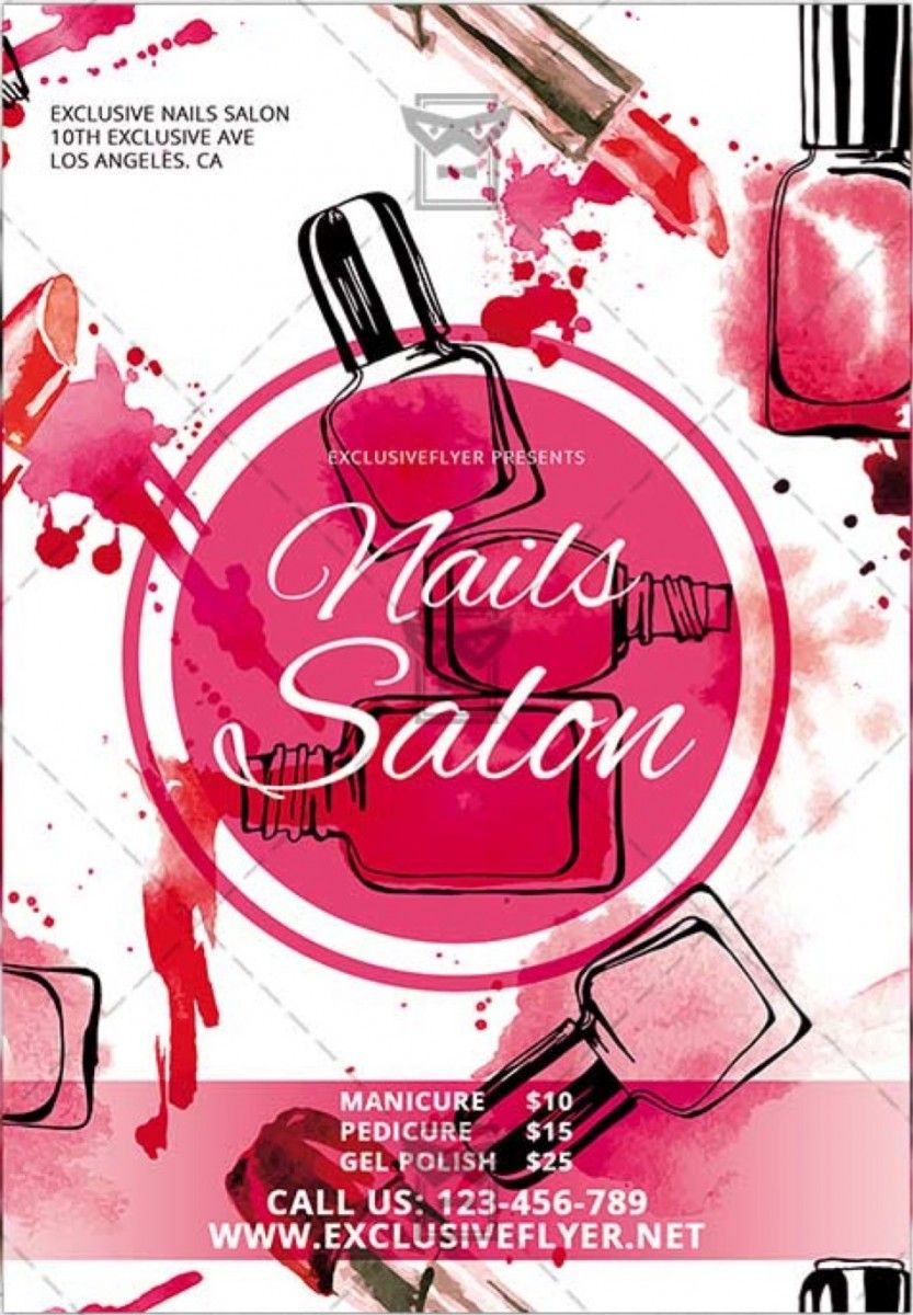 Nails salon free club and party free flyer psd template