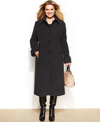 c8daf20fbb7 Jones New York Plus Size Wool-Blend Maxi Coat