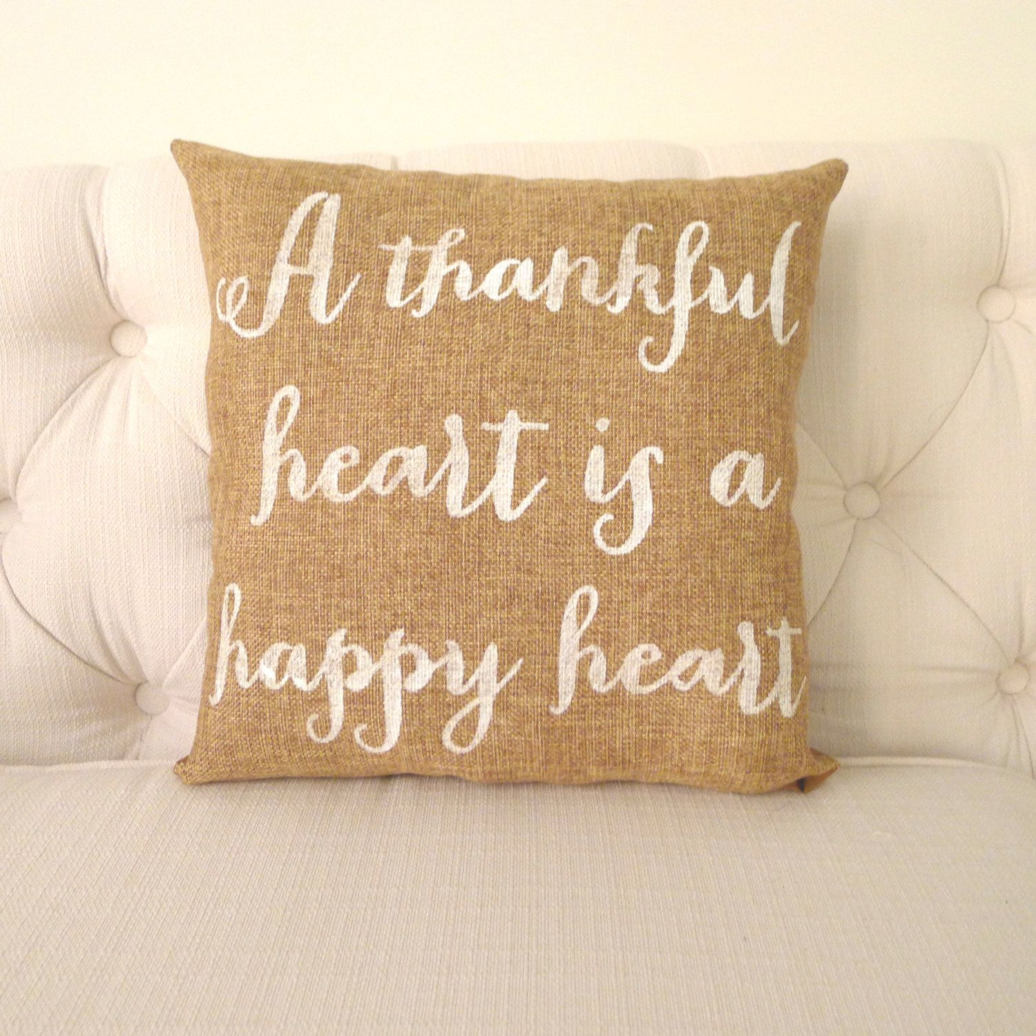 Thankful Heart Burlap Pillow Free Shipping By Katiescarlettco, $2650