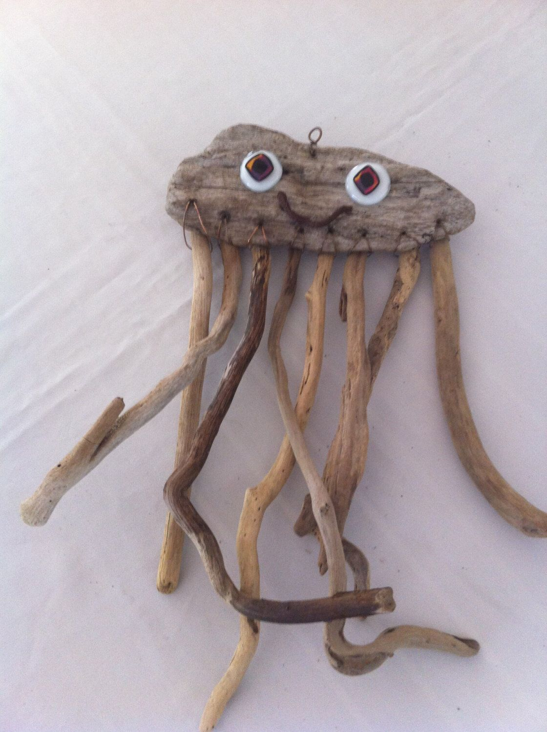 Hanging Driftwood Jellyfish Sculpture Wall Rustic White Fused Glass Eyes By