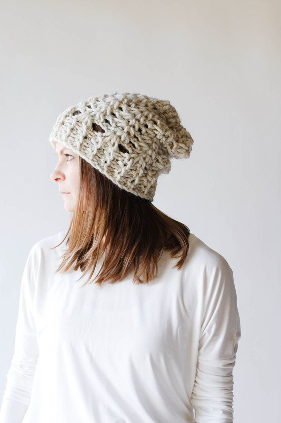 Slouchy Lace Hat Textured Winter Hat / THE TALKEETNA / by ozetta