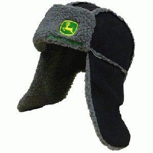bda9de0f8aa27 John Deere Suede Look Trapper Hat Black