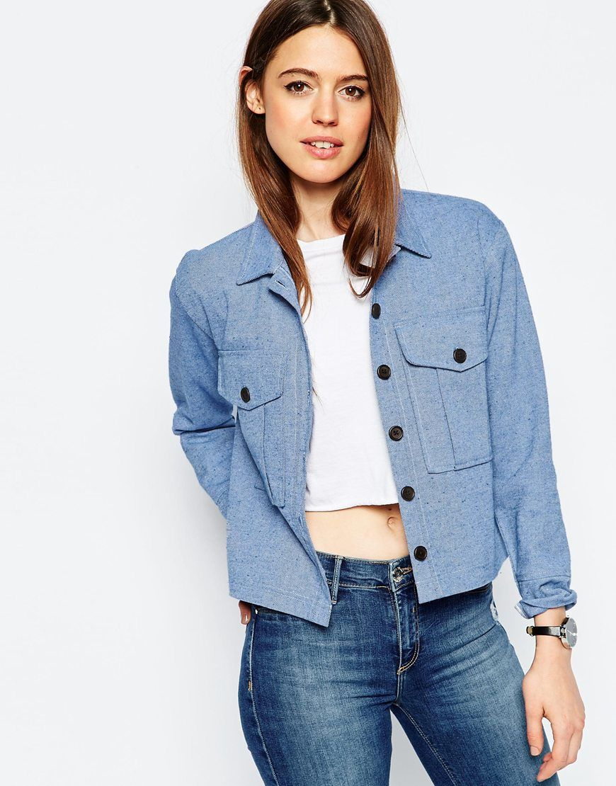 f087c6cd71  58 ASOS Chambray Shacket With Button Detail Shirt Blouses