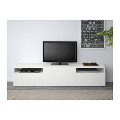 BESTÅ TV-Bank - Lappviken weiß, Schubladenschiene, sanft - Wohnzimmer Ikea Besta