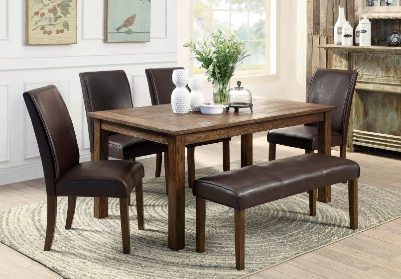 Room Dining Wooden Table Dark Brown Leather Chair Bench