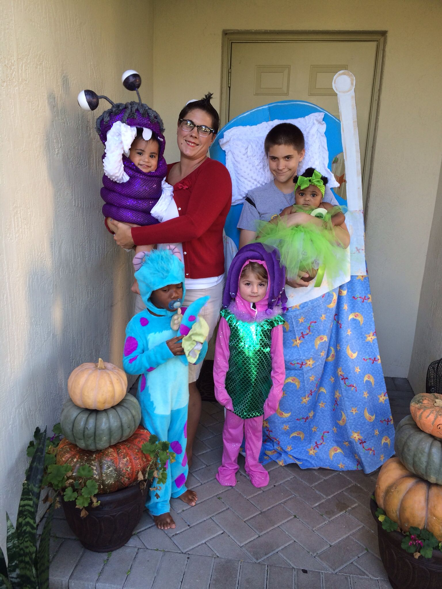 monsters inc. halloween costumes. sully, boo, celia, roz, mike, boy