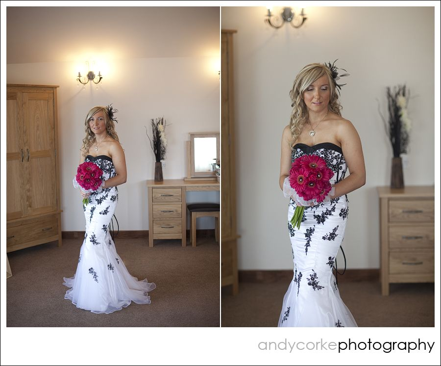 Heaton House Farm Wedding Venue Cheshire Andy Corke Photography Black And White Dress Monochrome Fishtail Ed Bride