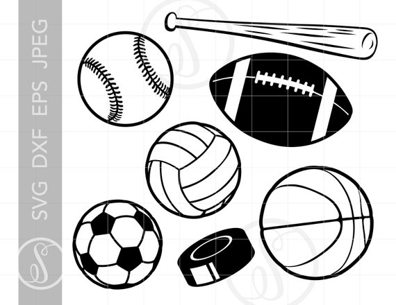 sports balls clipart svg baseball football silhouette soccer file cut theme clip downloads cricut dxf sc85 pdf visit cameo cutting