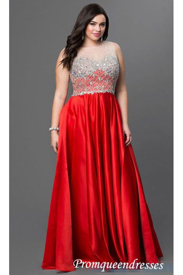 2017 Custom Made Red Plus Size Prom Dresssexy Beading Evening Dress