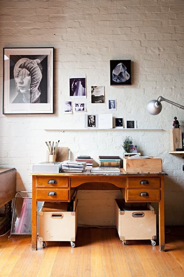 A relaxed work space vintage desk