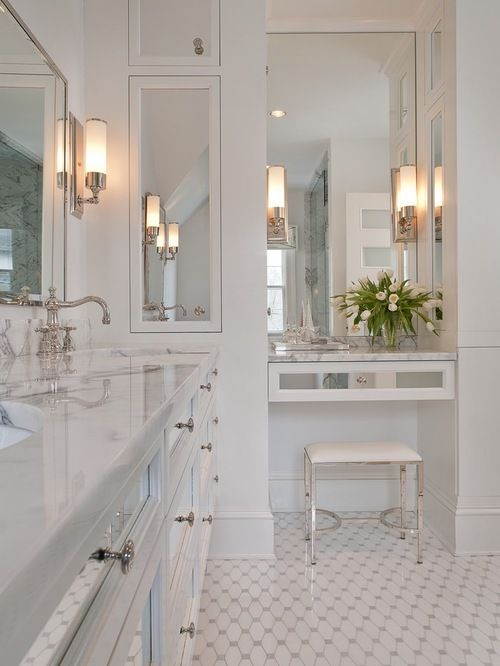 Small Bathroom With Built In Makeup Vanity Home Design