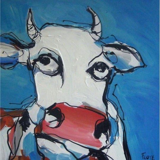 Blauwe koe modern schilderij moderne schilderkunst for Moderne schilderkunst