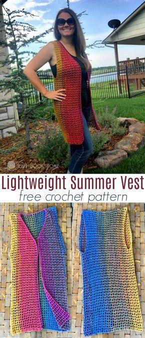 Easy & Breezy Lightweight Summer Vest FREE Crochet Pattern | Weste ...