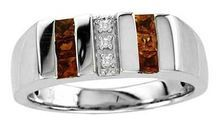 Stone Type   Garnet  Stone Shape   Square  Stone Size   2.5mm  Stone Class   Simulated  Diamond Total Weight (CT. T.W.)   Diamond Accents  Stone Setting   Channel  Standard Ring Size   10  Ring Band Width   9.0 mm  Metal Color   White  Metal Type   Sterling Silver  Stone Color   Red