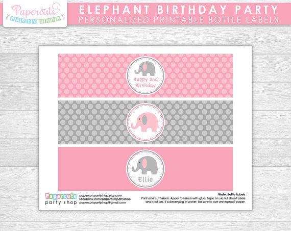 Elefante Tema Cumpleaños Fiesta Etiquetas De Botellas De Agua Etiquetas Para Botellas Tema De Elefante Fiestas De Cumpleaños De Elefante