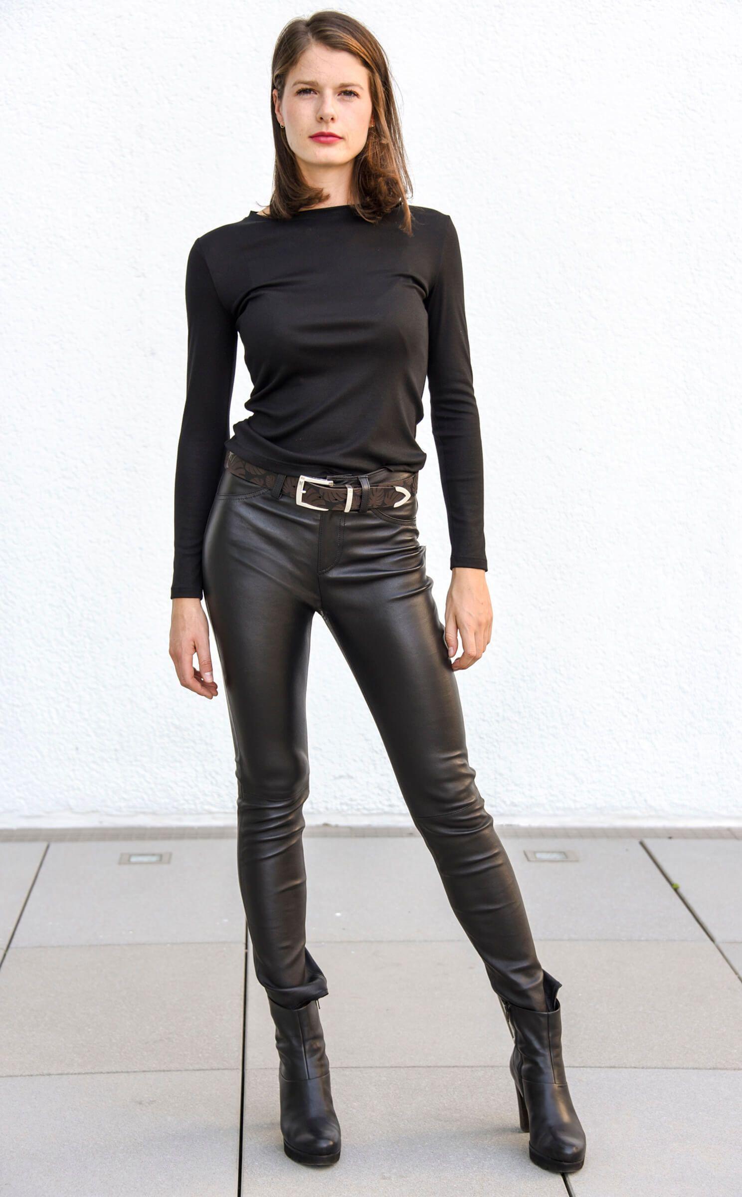 Damen Leder-Jeans, Nappaleder, Schwarz   wunschleder in