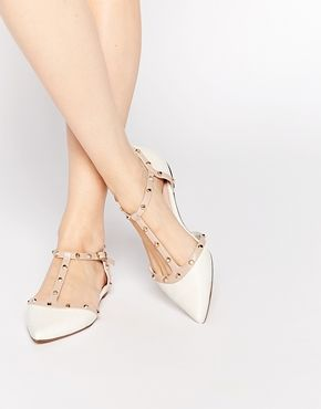 59fc5848a1 Dune Heti White Stud Pointed Flat Shoes | My style | Shoes, Pointed ...