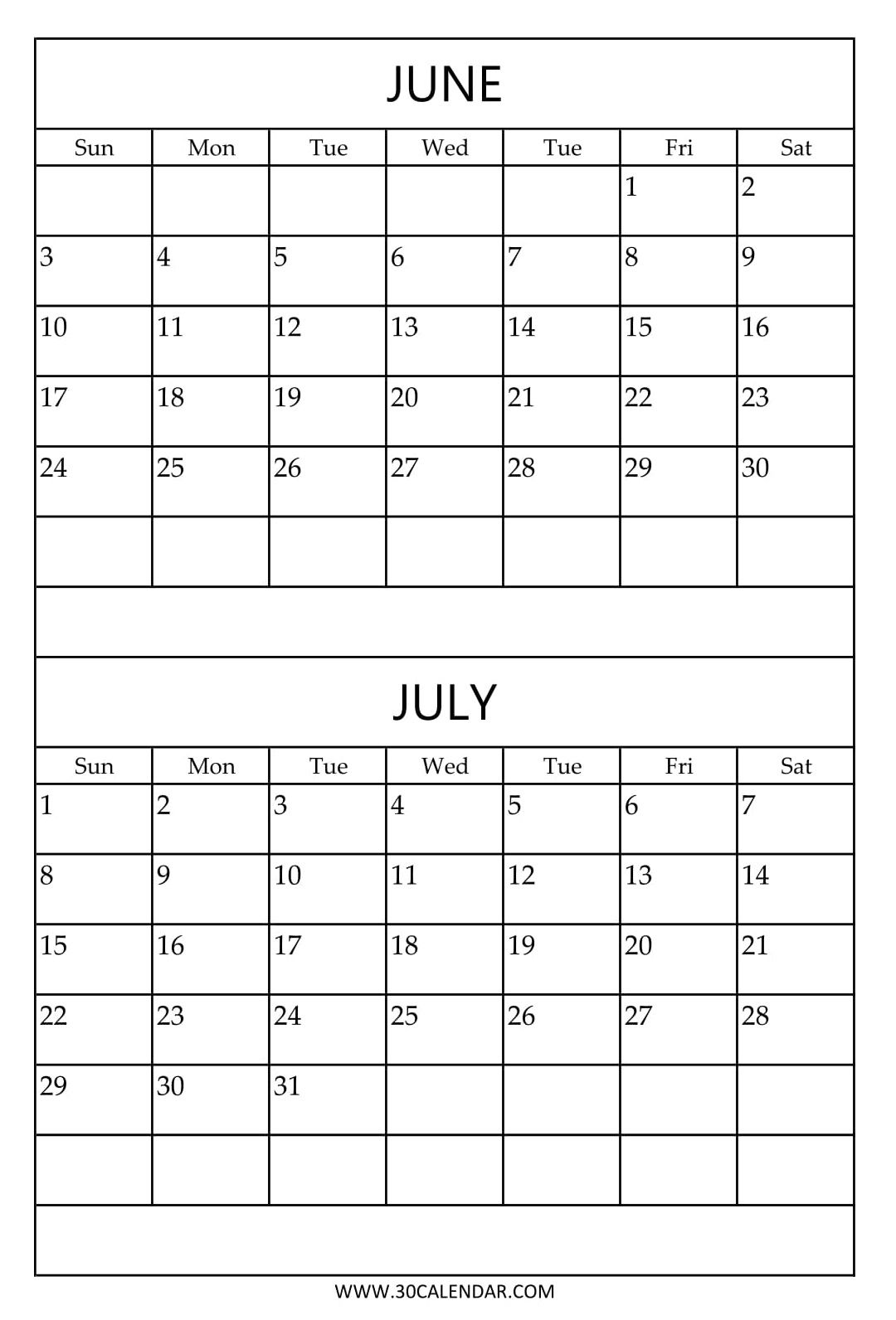 Free Printable June July Calendar Template July Calendar Calendar Template Calendar June