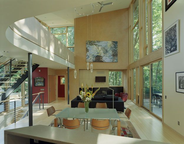 The home was built in an environmentally sensitive forest, and the home's height and placement minimized the visual and environmental effect on the site.