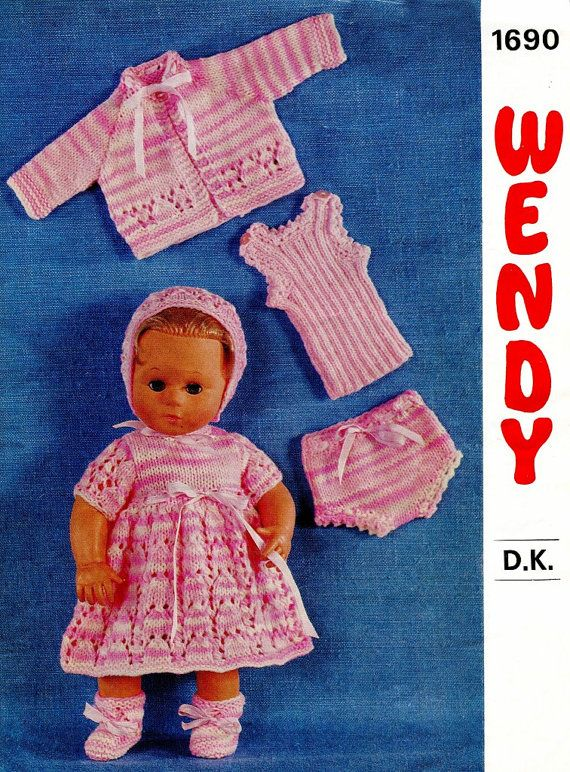 Instant Doll Clothes Knitting Pattern 6 Designs Fits 14 36cm