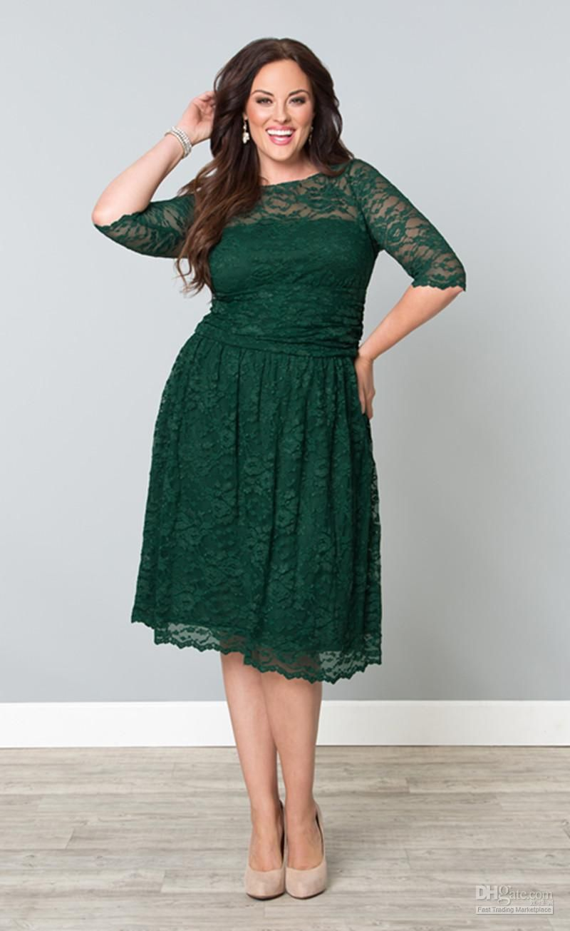 Wholesale New Arrival Lace Plus Size A-Line Crew 3/4 Long Sleeves ...