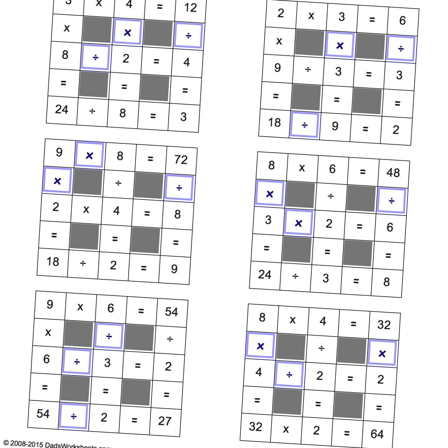 Math Worksheets Multiplication and Division Grid Puzzles