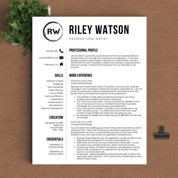 Creative Resume Template for Word or Pages 1, 2 and 3 Page - production artist resume