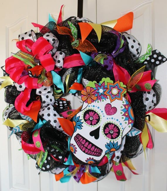 XL Day of the Dead Double Door Wreaths. Halloween Double Door Wreaths. Halloween Decor #doubledoorwreaths