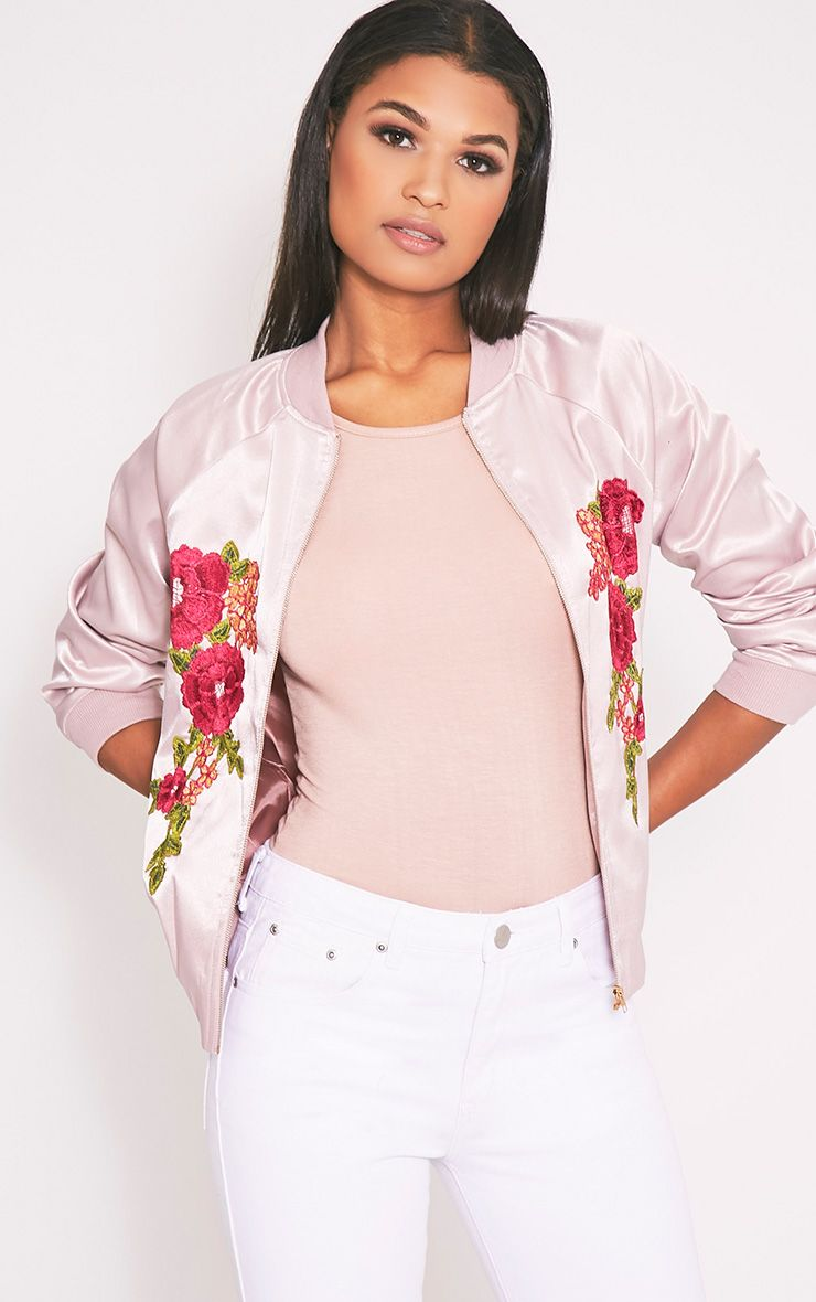 Challah Dusty Pink Satin Applique Bomber Jacket (With images