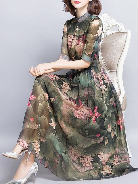 Midi Dress,Green,Short Sleeve,Casual,Floral,Printed,Holiday,Spring/Fall,Summer,Stand Collar,Mid-weight,Beach,Daytime,A-line,Non-stretchy,Elegant,Polyester #dresses