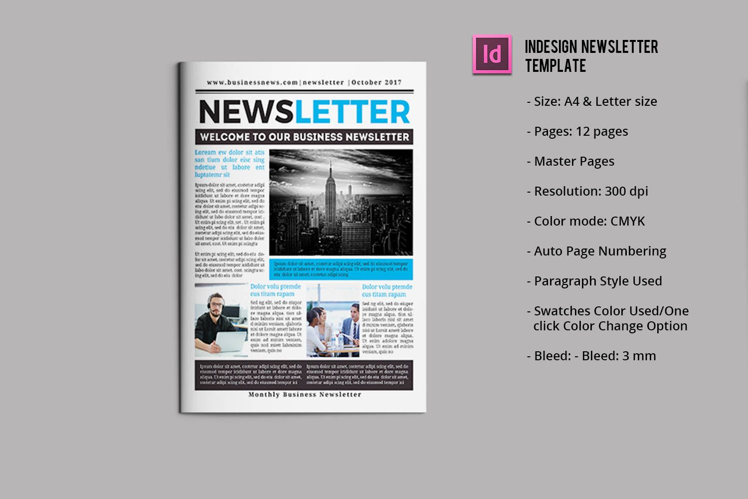 Business Newsletter Template   12 pages   InDesign & MS Word ...