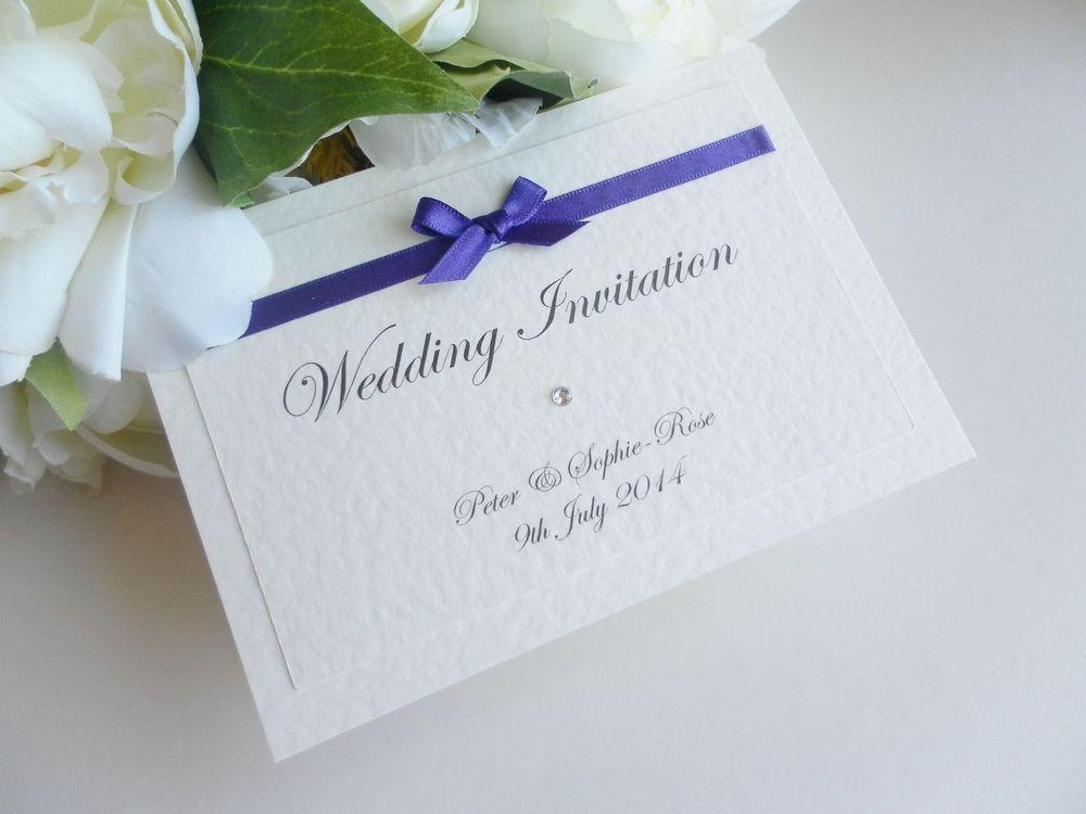 10 x Handmade Personalised Cadbury Purple Wedding Invitations ...