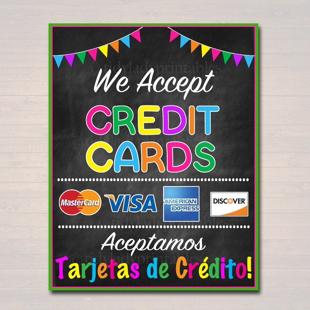 picture about We Accept Credit Cards Printable Sign named PRINTABLE Credit history Card Signal, Fundraising Booth, Bake Sale