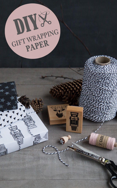 diy f r selbstgemachtes geschenkpapier im schwarz wei look garn mehr geschenkideen. Black Bedroom Furniture Sets. Home Design Ideas