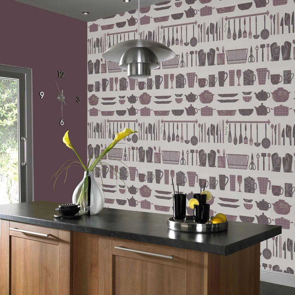 Kitchen wallpaper vintage ...