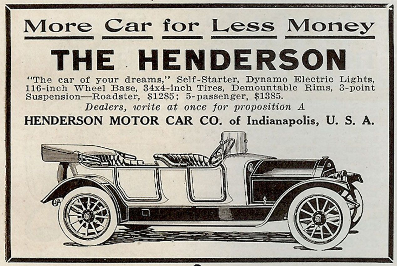 1912 Henderson Vintage Cars Car Ads Roadsters