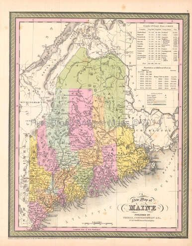State Of Maine Antique Map DeSilver Antique Maps - Old state maps for sale