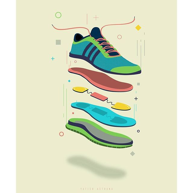 Exploded view of shoe for an info-graphic on Piezoelectricity.