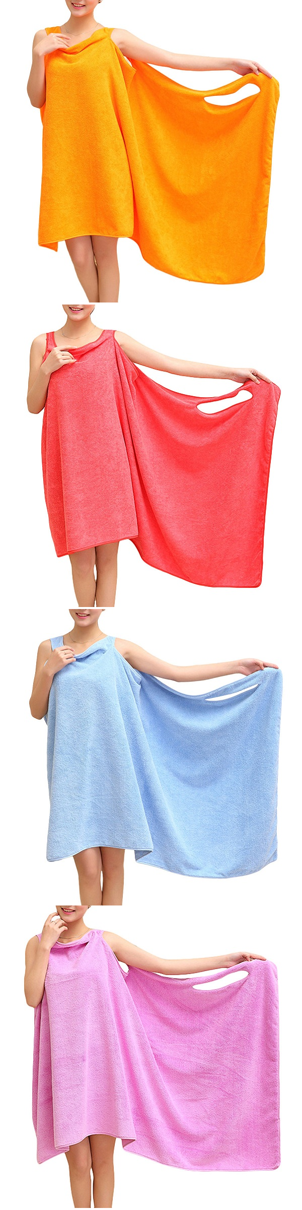 Women Summer Microfiber Soft Bath Towel Beach Able Wear Spa Bath Robe Plush Highly Absorbent