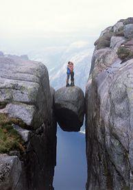 Some people find DANGER romantic....I prefer staying alive!  Kjerag Rock outside Stavanger, Norway.
