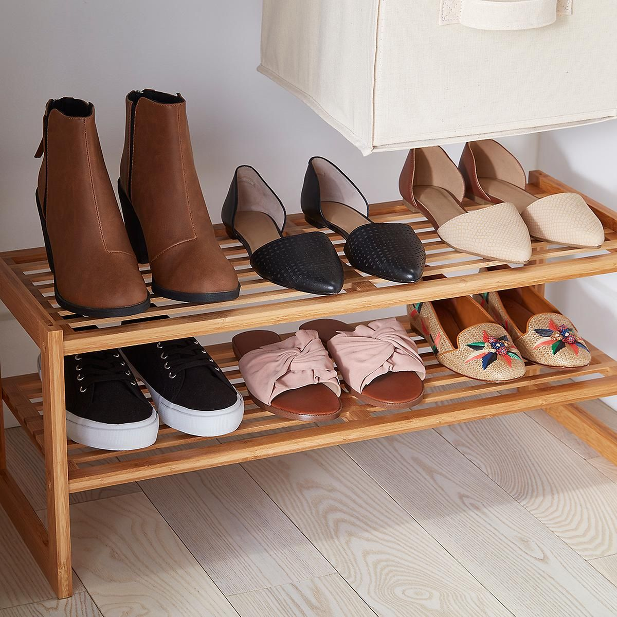 2 Tier Bamboo Stackable Shoe Shelf With Images Diy Shoe Rack