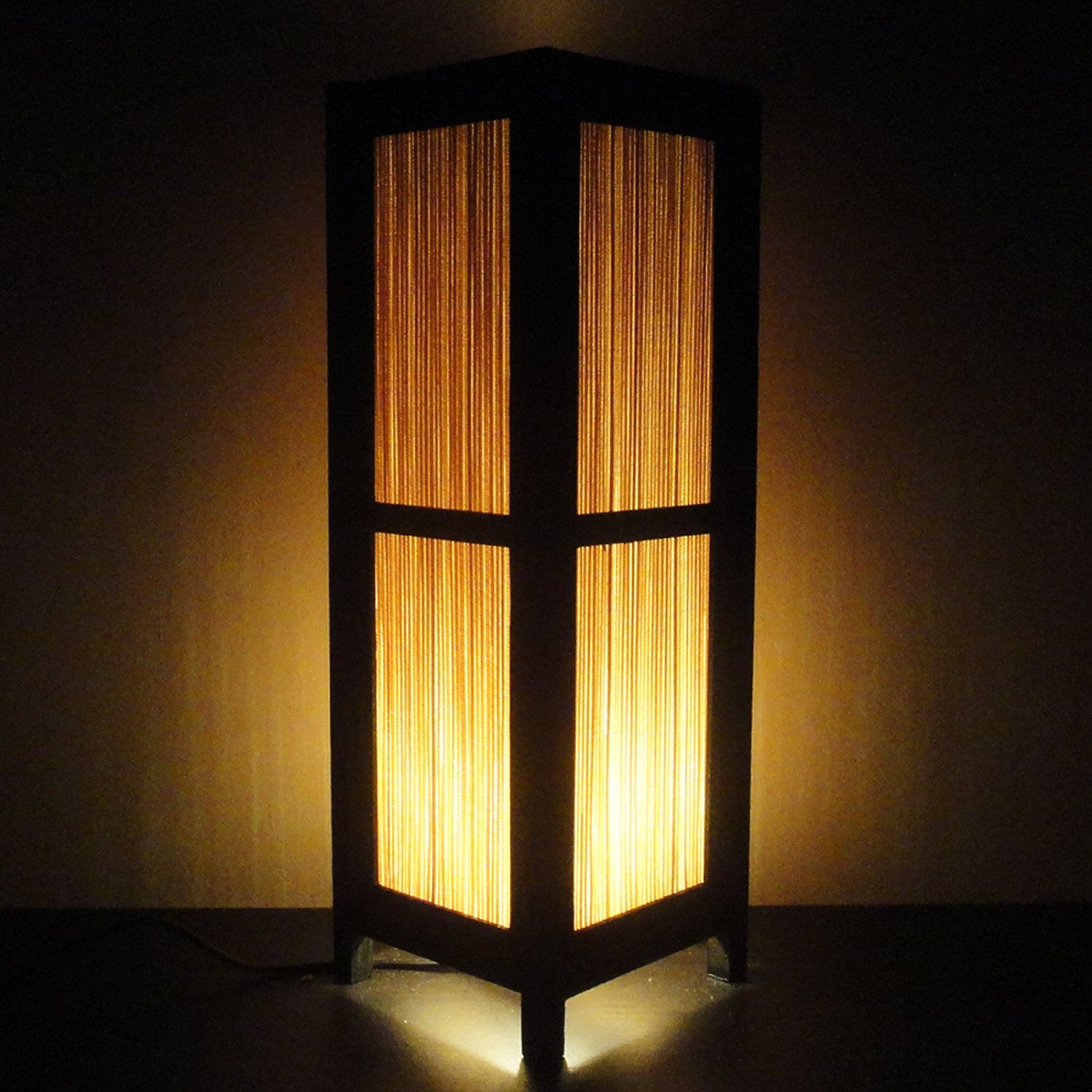 $19.97 15'' Tall Asian Oriental Japanese Bamboo Art Decor Bedside Table or  Floor Lamp