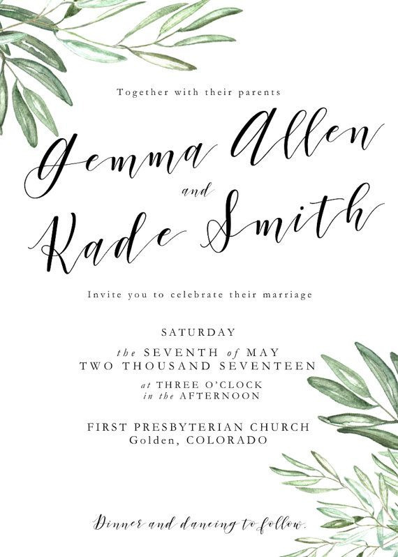 Printable Olive Leaves Wedding Invitation Suite Branch Invite