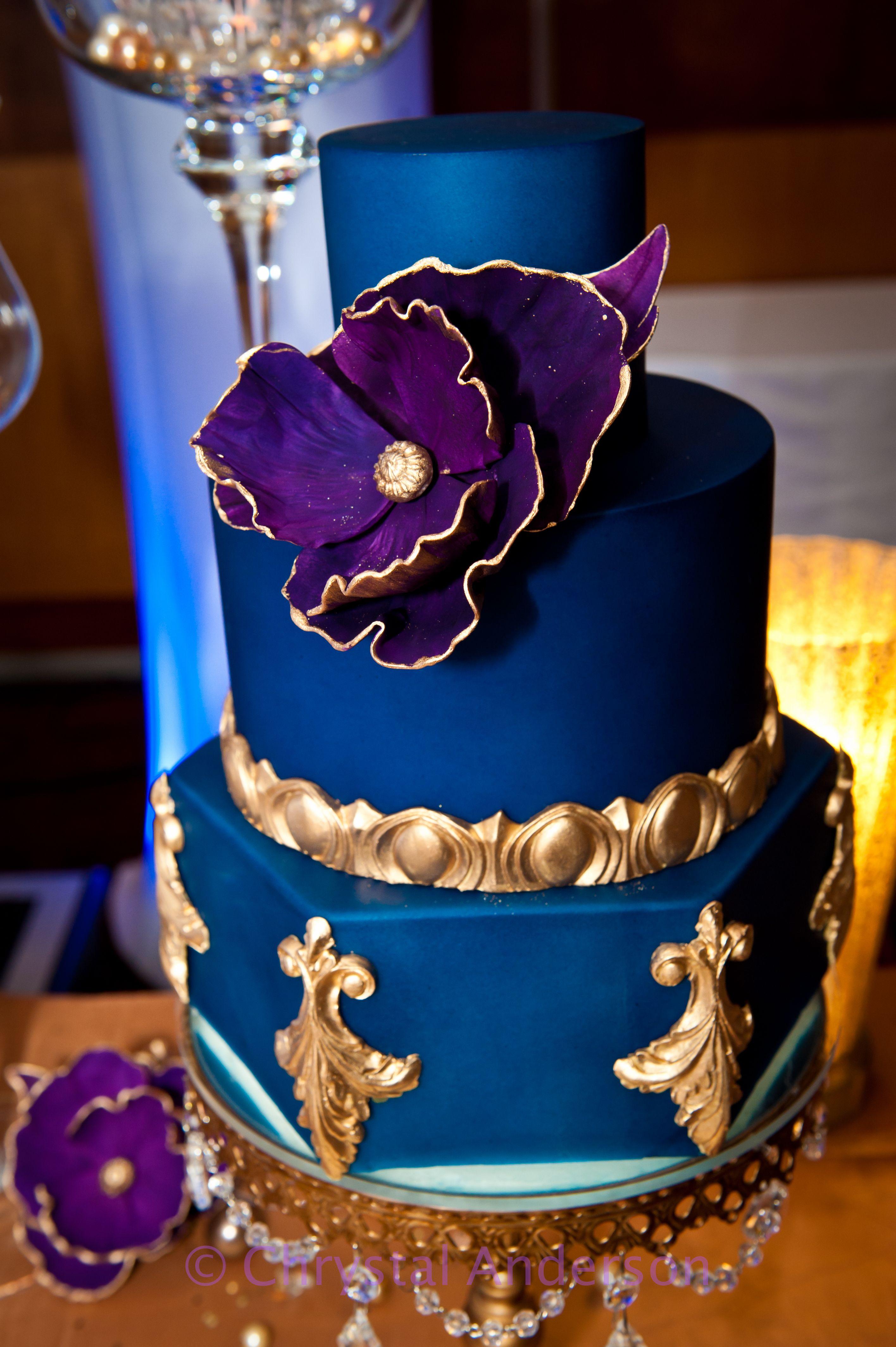 Royal blue gold purple cake Cakes Pinterest