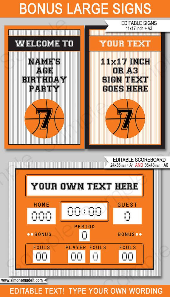 Basketball Theme Party Invitation & Decorations - full Printable ...