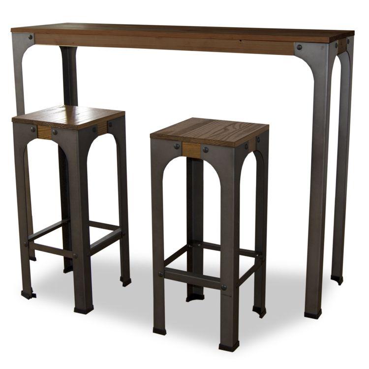 Mesa alta Bristol de estilo industrial, realizada en madera y metal ...