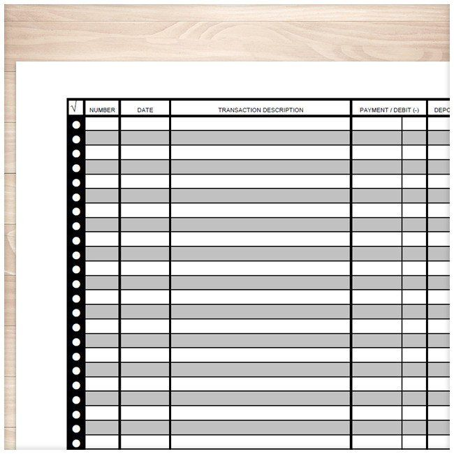 financial transaction register full page printable at printable
